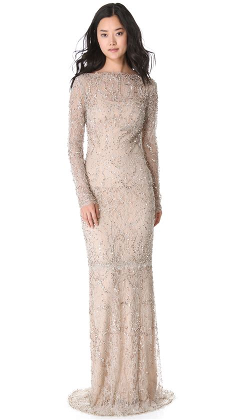 Baju Kurung Lace Gold marchesa beaded lace gown in lyst