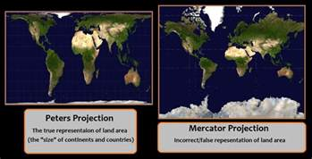 Undistorted World Map by Peters Projection Vs Mercator Projection Comparison The