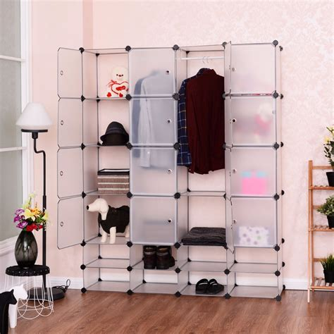 8 Cool Clothes Storage Items by Goplus Diy 16 8 Cube Portable Clothes Wardrobe 1 Hook