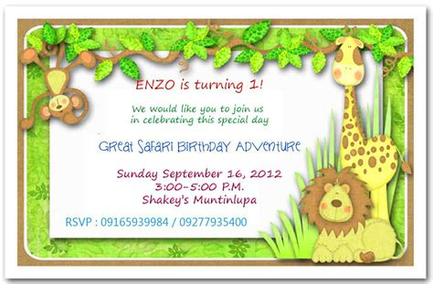 jungle invitation template jungle themed 1st birthday invitations safari themed