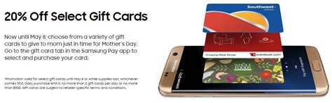Samsung Pay Gift Cards - 20 off select gift cards with samsung pay in app frequent miler