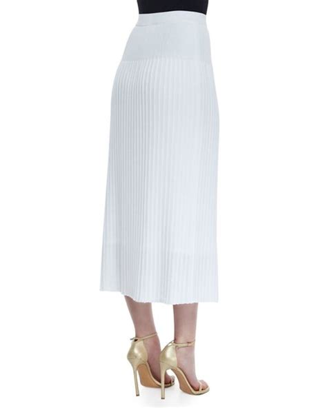 17888 White Knit Sale Dress Or Skirt Misook Pleated Knit Skirt In White Save 62 Lyst