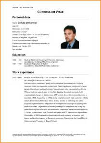 Curriculum Vitae Format Doc by 8 Cv Example In English Cashier Resumes