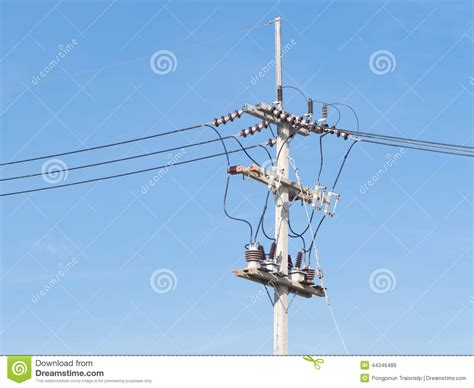 blue wires in electricity power supply line with wires stock photo image 44346489