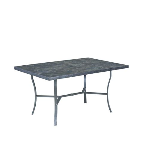 Home Styles Stone Veneer Black Patio Dining Table With Black Patio Table
