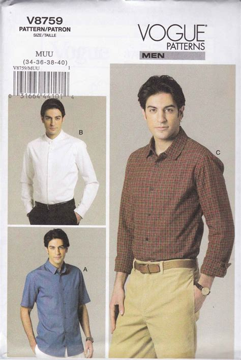 mens shirt pattern easy vogue sewing pattern 8759 v8759 mens size 34 40 easy