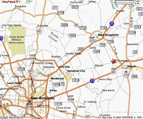 where is seguin texas on a map area map of mcqueeney