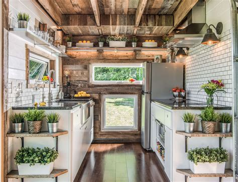 tiny house inside this unique tiny house is filled with farmhouse inspired style