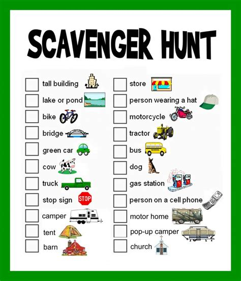 scavenger hunt checklist template scavenger hunt ideas lists and planning hubpages