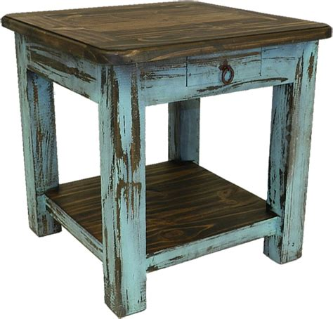 rustic antique turquoise end table turquoise end or sidetable