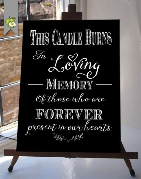 This Candle Burns In Loving Memory Wedding Sign by
