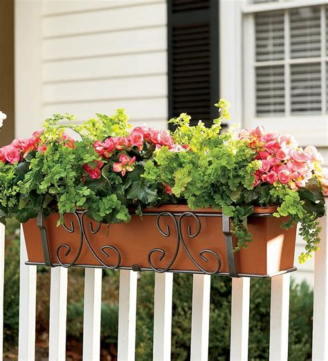 Deck Railing Flower Planters by Self Watering Planter 40 Quot Deck Planters Plow Hearth