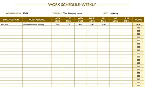 Free Work Schedule Templates For Word And Excel Word Schedule Template