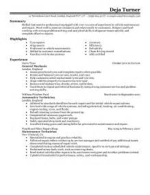 Automotive Resume Exles by Automobile Industry Resume For Automobile Industry