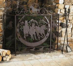 western fireplace screens western furniture running horses fireplace screen lone
