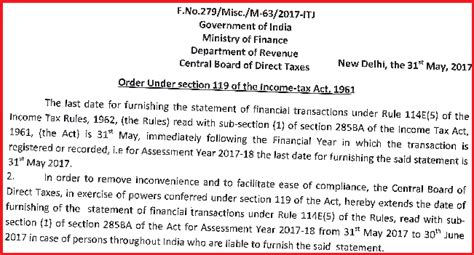 section 61 of income tax act due date to file statement of financial transactions sft