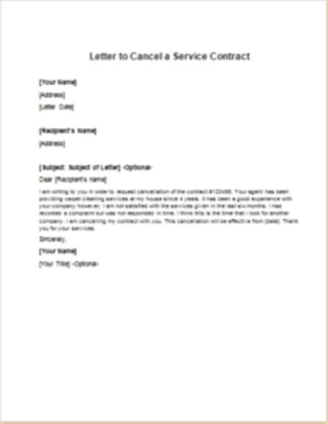 Discontinue Of Contract Letter Sle Letter To Cancel A Service Contract Writeletter2