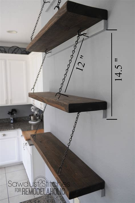 Suspended Shelf by Remodelaholic Easy Suspended Shelving Tutorial
