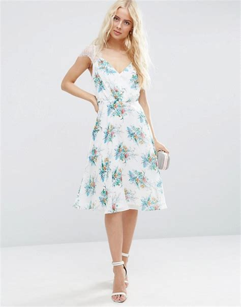white patterned midi dress asos asos kate lace midi dress in white floral