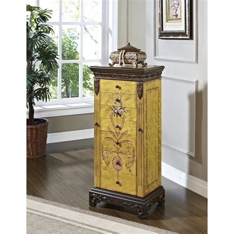 Jewelry Furniture Armoire by Powell Furniture Masterpc Distressed Antique Parchment