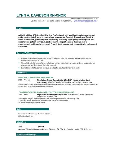 Resume Exles For Or Nurses Resume Nursing Resume Writing Tips Sle Nursing Resumes By Easyjob Easyjob