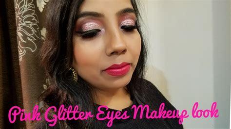 eyeliner tutorial in hindi pink glitter half cut crease makeup tutorial in hindi