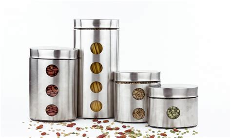 stainless steel kitchen canister set 3 or 4 piece glass or stainless steel canister set groupon