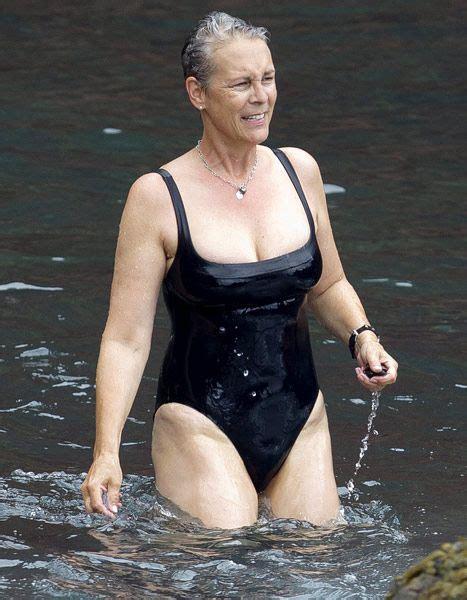 jamie lee curtis red suit jamie lee curtis wears low cut black swimsuit at age 54