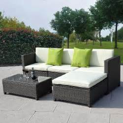 Wicker Outdoor Patio Furniture Sets by Outdoor Patio Wicker Sofa Set 5pc Pe Rattan