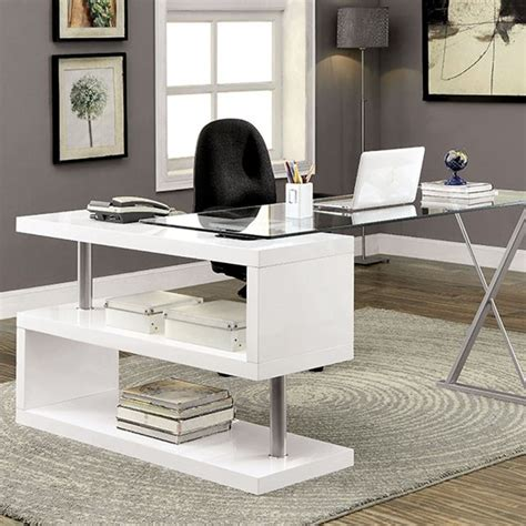 Desks For Home Office Contemporary Bronwen Contemporary White Metal Wood Desk Home Office The Home Best Deal Furniture
