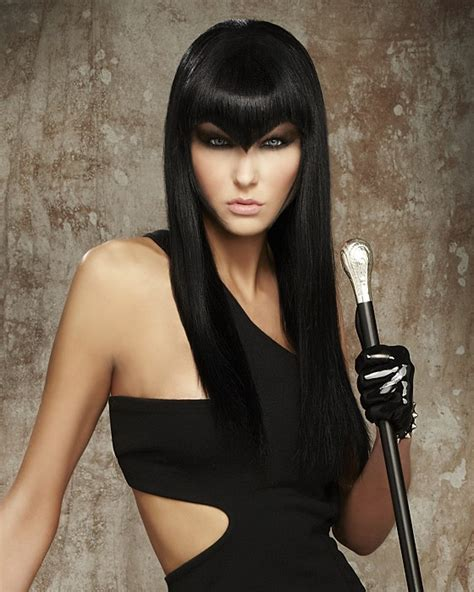 dominatrix hairstyle a long black hairstyle from the fetish courture collecion