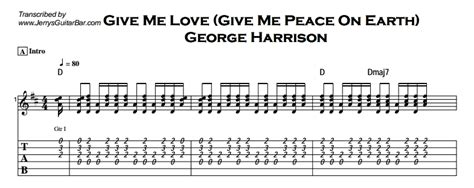guitar tutorial give me love george harrison give me love give me peace on earth