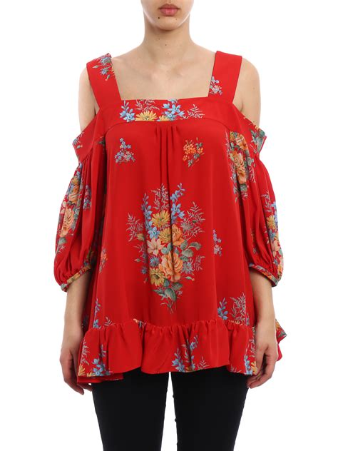 Blouse Shoulder Sleeves Inter 002 floral silk the shoulder blouse by mcqueen