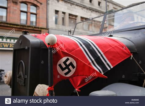 film semi nazi nazi flags on the bonnet of a german army truck during the