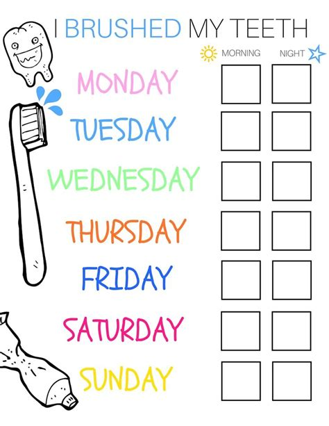 printable tooth brushing reward chart 20 best printable brushing charts for kids images on