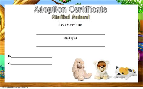 stuffed animal templates free stuffed animal adoption certificate template 7 best ideas