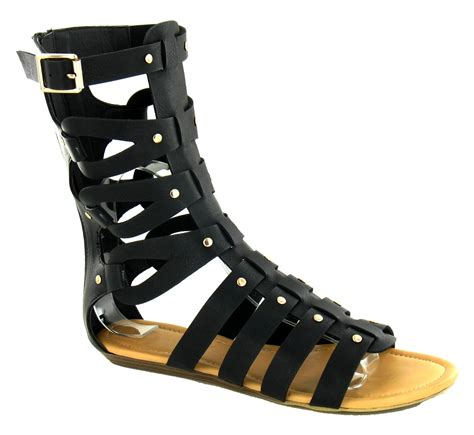 8 Must Gladiator Sandals For Summer by Womens Mid Calf Cut Out Flat Gladiator Sandals
