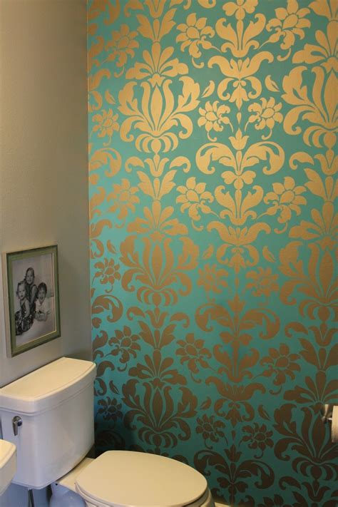 damask bathroom teal and silver damask wallpaper two years later and i