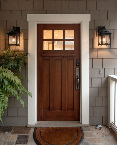 Front Doors Ideas Front Entry Door Ideas Entry Craftsman With Wall Bracket Exterior Lighting Shingle Siding