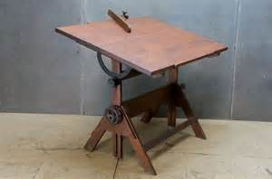 Draft Table 1930s Oak And Cast Iron Adjustable Drafting Table And Oak Angle The Mechanical Details W