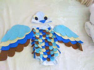 De Xian Gunting Kain Biru diy blue bird costume the