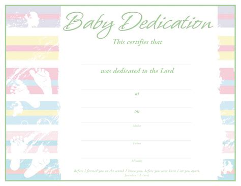 dedication certificate template baby dedication certificate certificate dedication