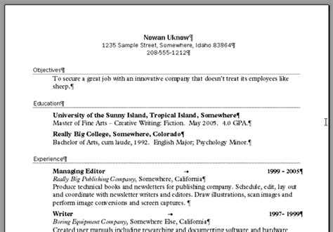resume setup exles create a resume in word