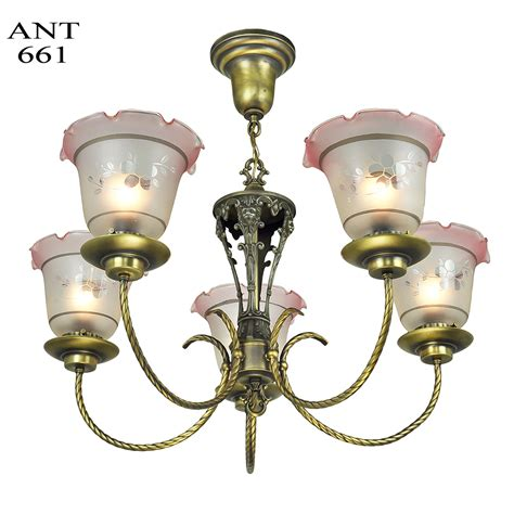 Antique 1920 Ceiling Light Fixtures Edwardian Chandelier 5 Arm Ceiling Light Fixture Circa 1920 Lighting Ant 661 For Sale