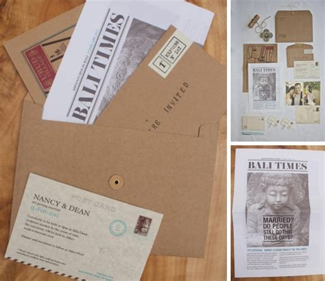 newspaper themed wedding invitation travel themed wedding invitations save the dates