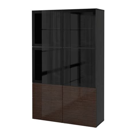 besta glas best 197 storage combination w glass doors black brown