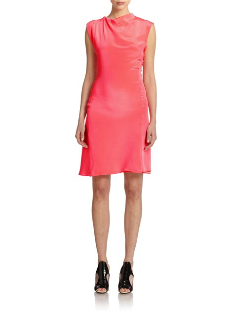asymmetrical draped dress lyst 3 1 phillip lim silk draped asymmetrical dress in pink