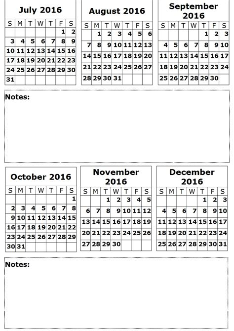 2016 Calendar By Month 6 Month On A Page 2016 Calendar