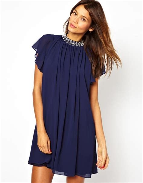 tfnc swing dress tfnc tfnc swing dress with embellished neck in blue navy