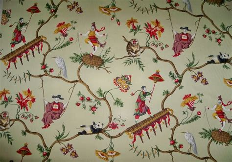 Scalamandre Upholstery Fabric by Scalamandre Ming Circus Chintz Toile Fabric Celdadon